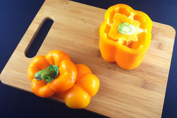 Coring a bell pepper, step 1