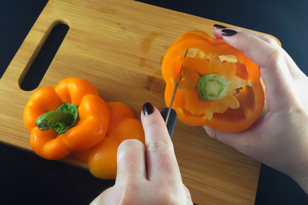 Coring a bell pepper, step 2