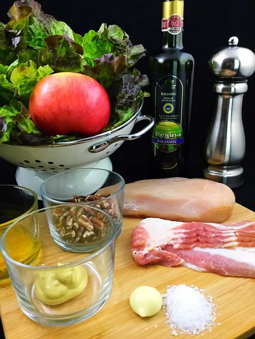 Apple, Bacon & Pecan Salad With Garlic Balsamic Dressing Ingredients
