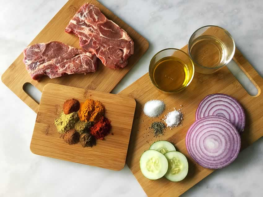 Indian Spiced Lamb Chops with Cucumber Salad Ingredients