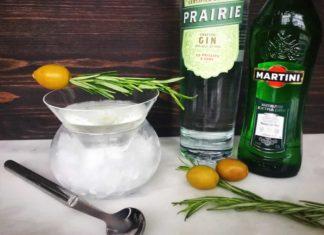 Smoked Rosemary Oil Dirty Martini