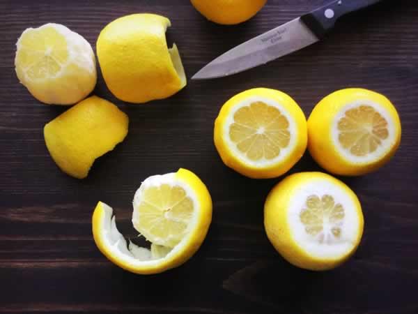 Peeling lemons, step 2