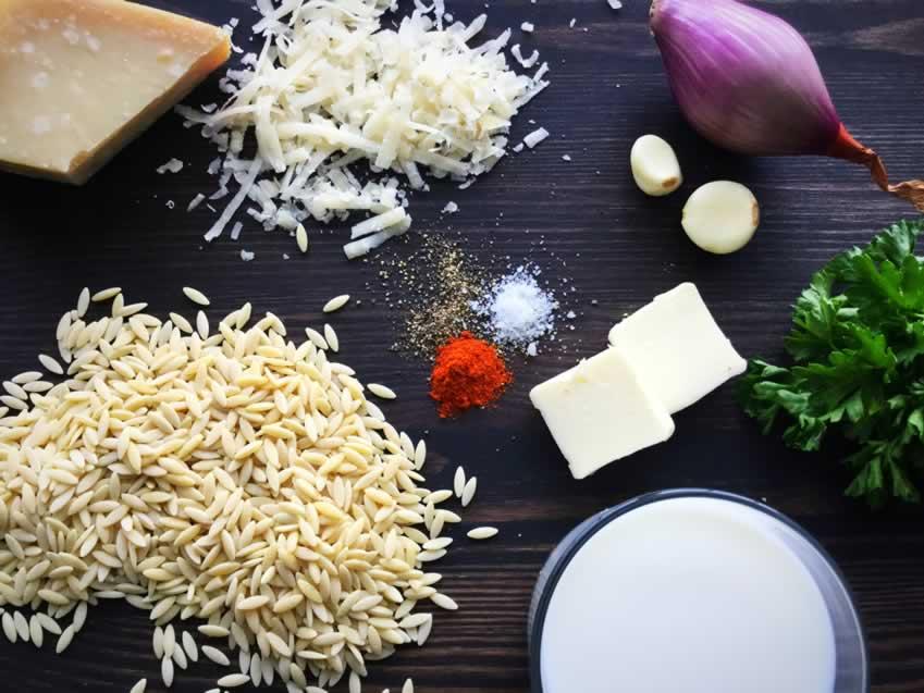 Creamy Parmesan Orzo Ingredients