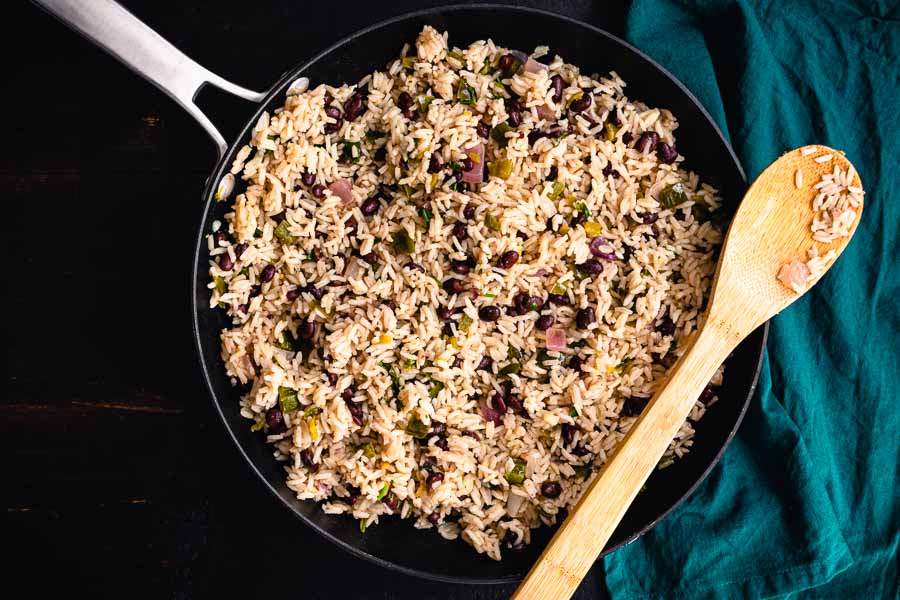One Pan Cilantro Lime Rice in a large nonstick skillet
