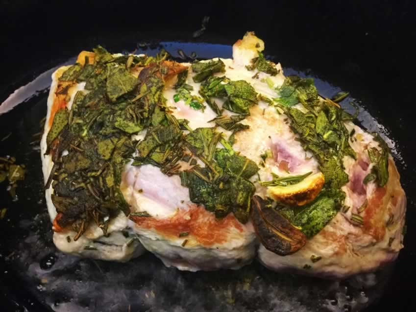 Pork Loin with Wine and Herb Gravy