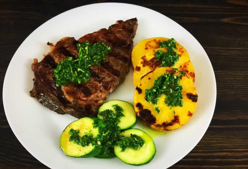 Grilled Butternut Squash, Zucchini and Steak with Chimichurri Sauce