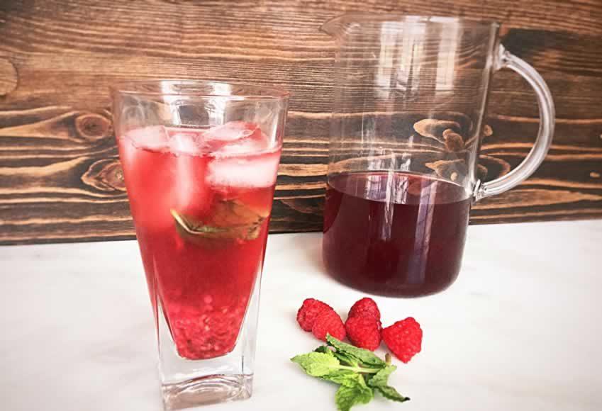 Iced Raspberry Mint Green Tea