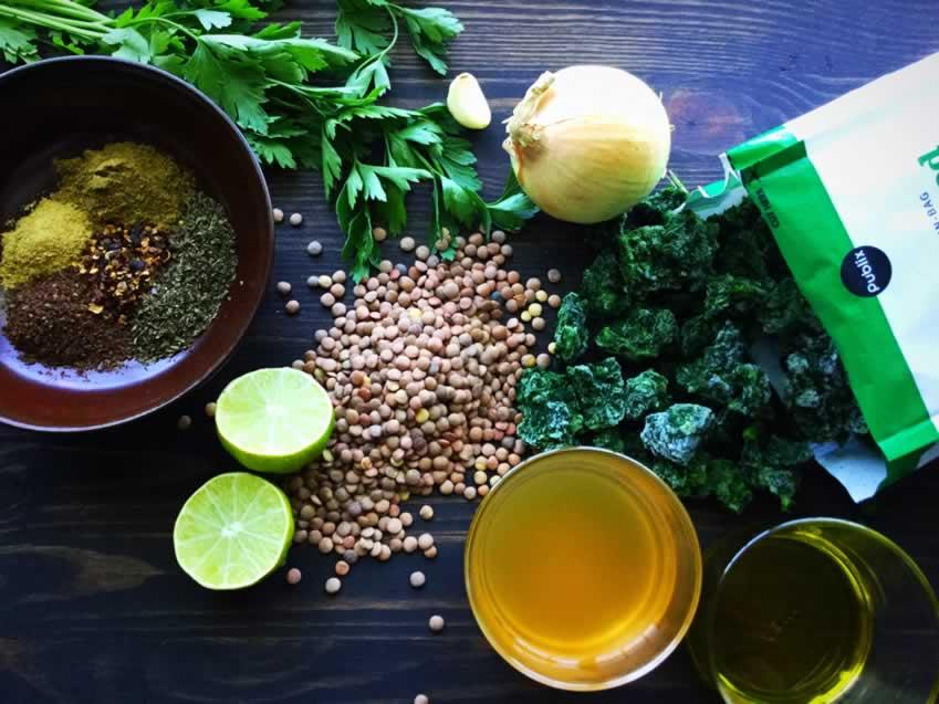 Mediterranean Spicy Spinach Lentil Soup Ingredients