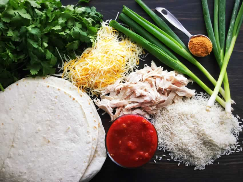 Chicken and Rice Burrito Ingredients
