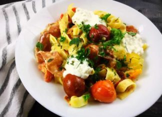 Garlic and Herb Roasted Cherry Tomato Carbonara with Crispy Prosciutto and Burrata