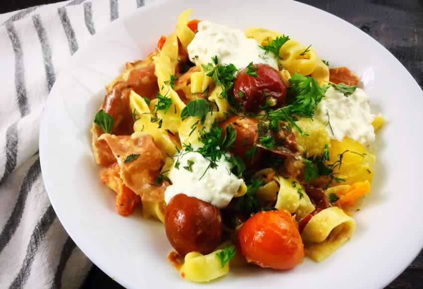 Garlic and Herb Roasted Cherry Tomato Carbonara with Crispy Prosciutto and Burrata