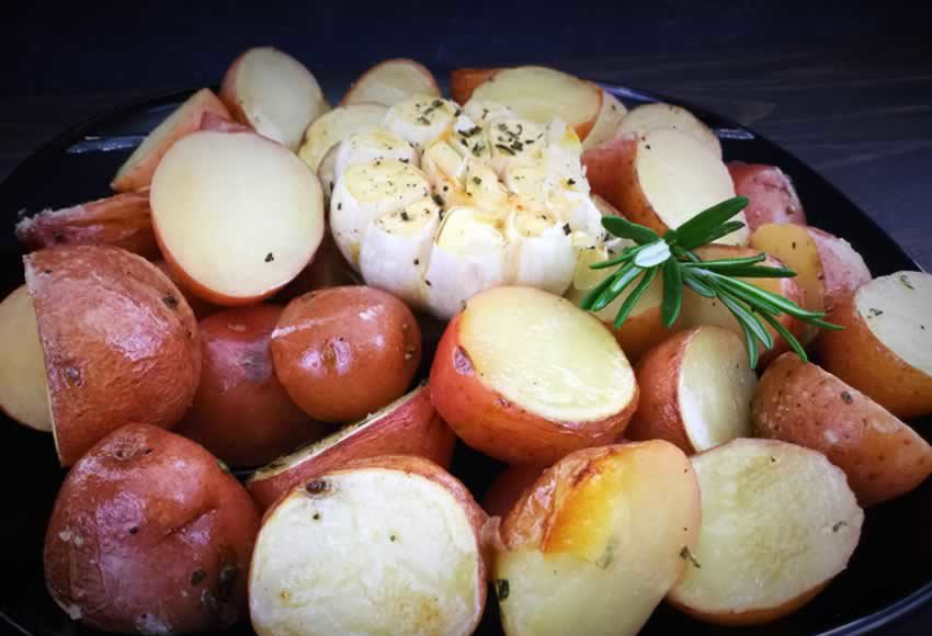 Rosemary Potatoes with Roasted Heads of Garlic