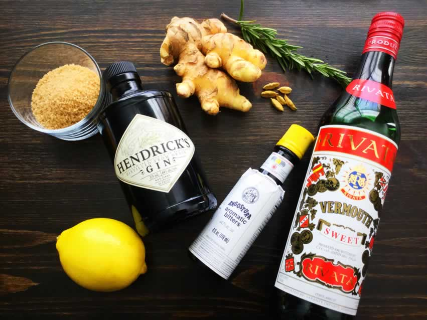 Ginger, Cardamom and Rosemary Gin Cocktail Ingredients