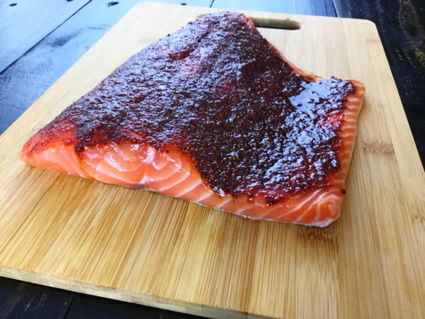 Marinating the salmon