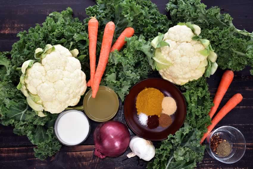 Curried Cauliflower Rice Kale Soup Ingredients