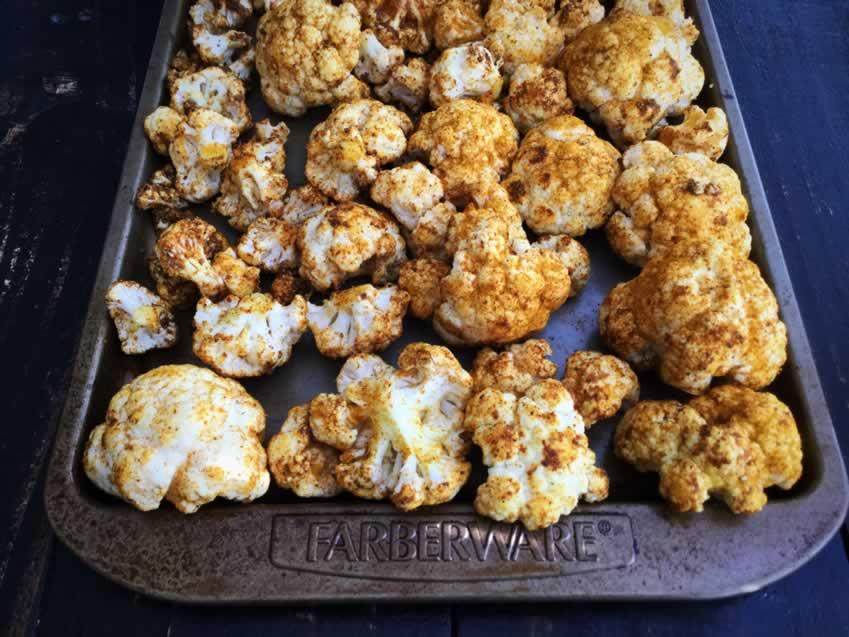 Curried cauliflower florets