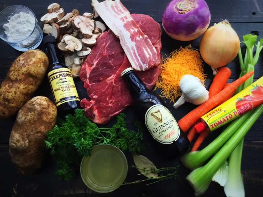 Guinness Beef Stew with Cheddar Herb Dumplings Ingredients