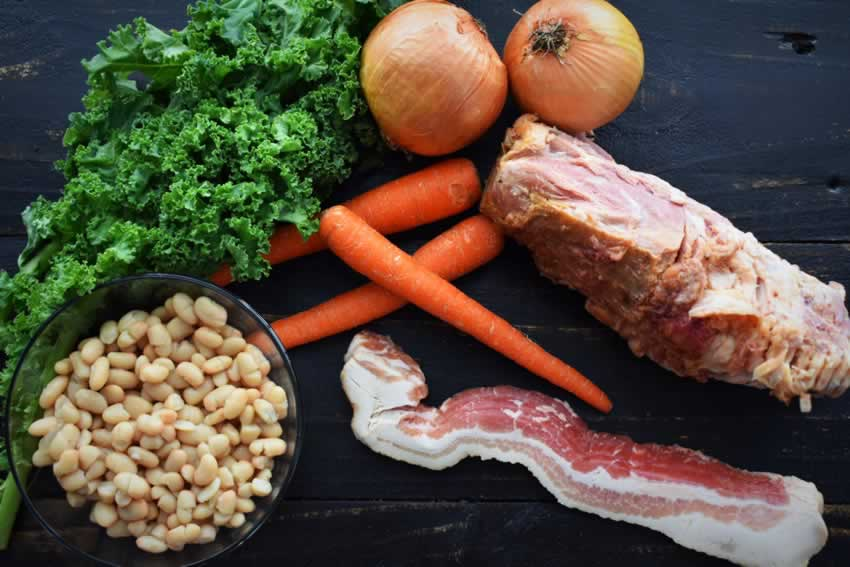 Ham Bone Soup with Great Northern Beans and Kale Ingredients