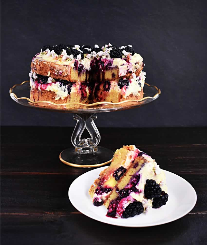Italian Lemon Olive Oil Cake Recipe with Berries on Cake Stand