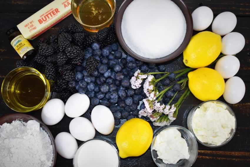 Best Italian Lemon Olive Oil Cake Recipe with Berries Ingredients