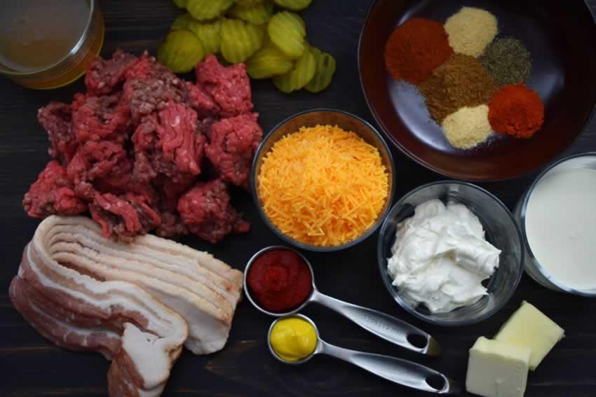Easy Bacon Cheeseburger Soup Recipe Ingredients