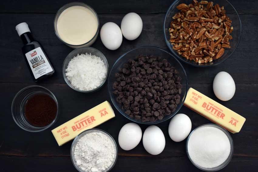German Chocolate Brownie Pie Ingredients