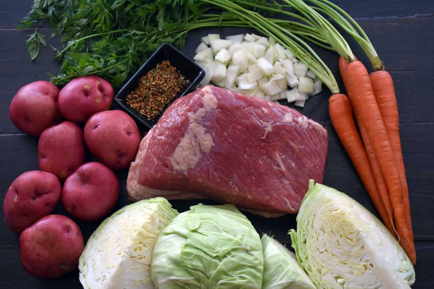 Slow Cooker Corned Beef and Cabbage Ingredients