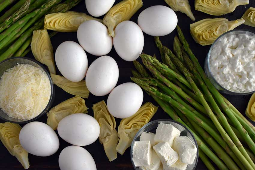 Asparagus and Artichoke Breakfast Casserole ingredients