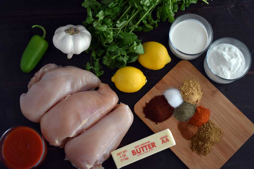 Slow Cooker Indian Butter Chicken Ingredients