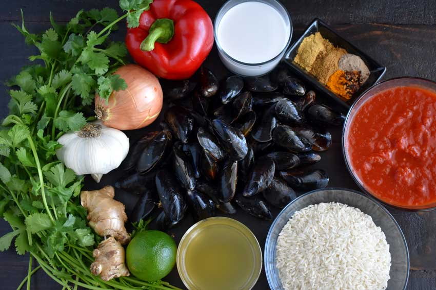 Tanzanian Style Mussel Curry Ingredients