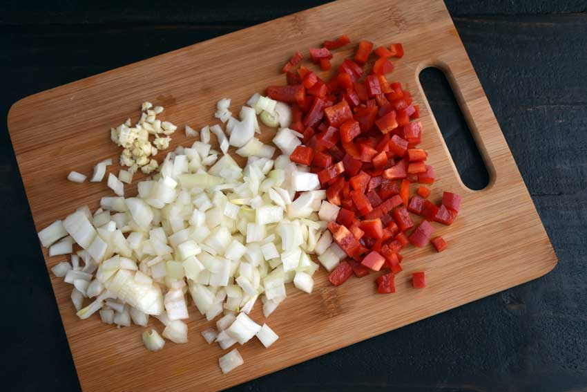 Chopped onion, red pepper, and garlic