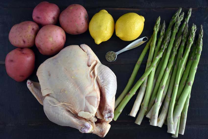 Spatchcock Chicken with Potatoes, Asparagus and Lemon Ingredients