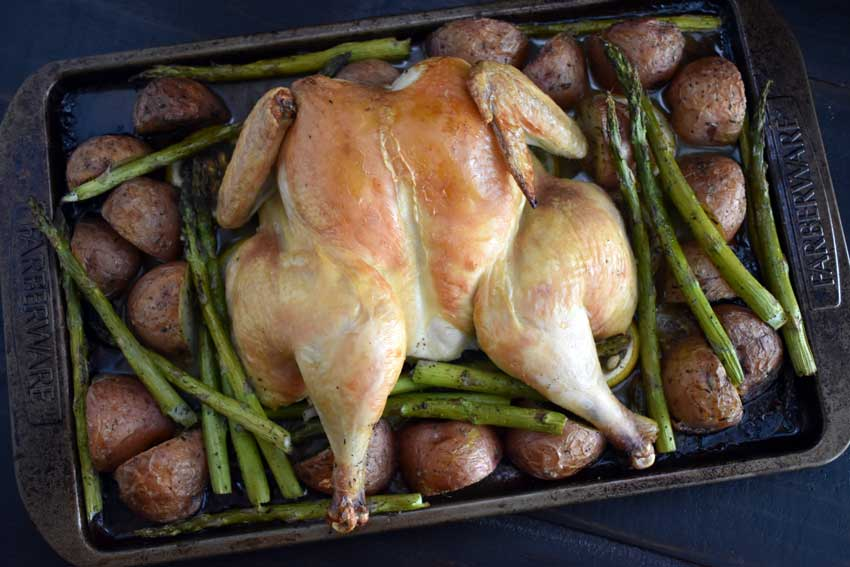 Spatchcock Chicken with Potatoes, Asparagus and Lemon