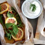 Parchment Baked Lemon Salmon and Potatoes with Dill Yogurt