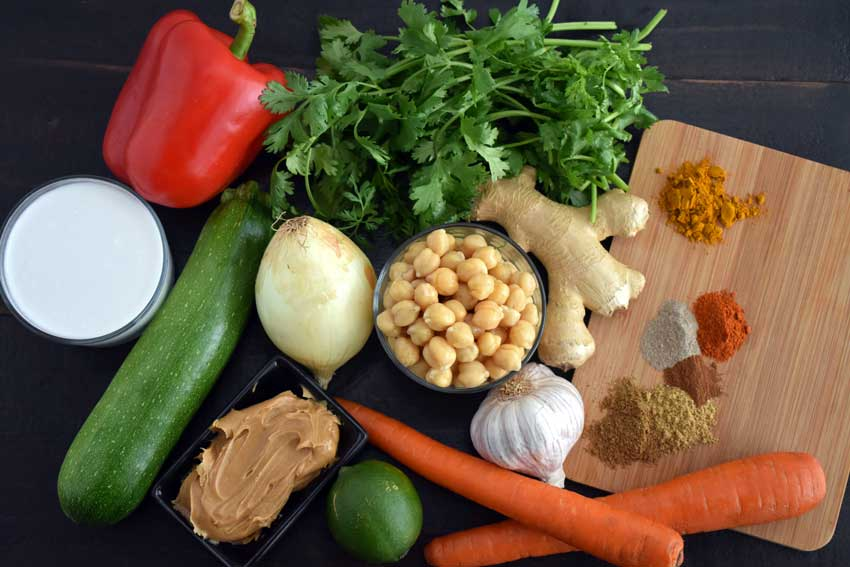 Chickpeas in Turmeric Peanut Butter Curry Ingredients