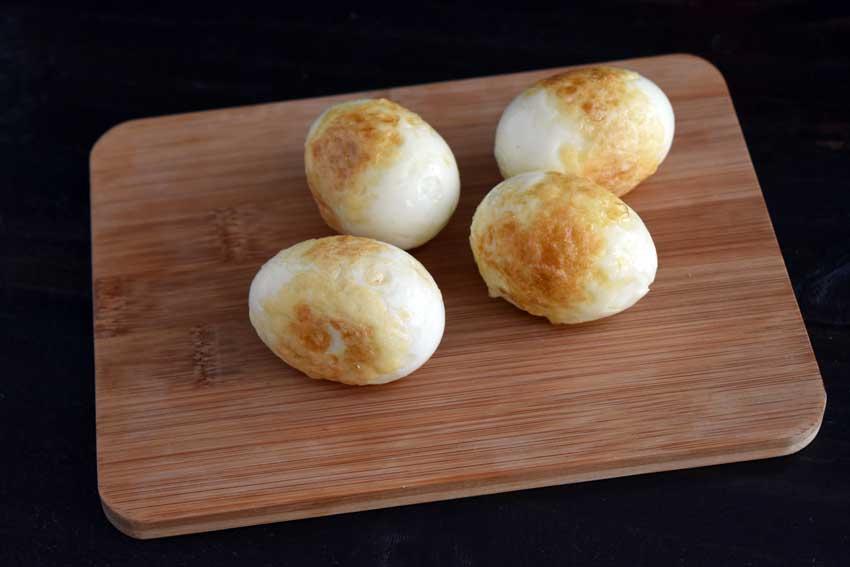 Fried hard boiled eggs