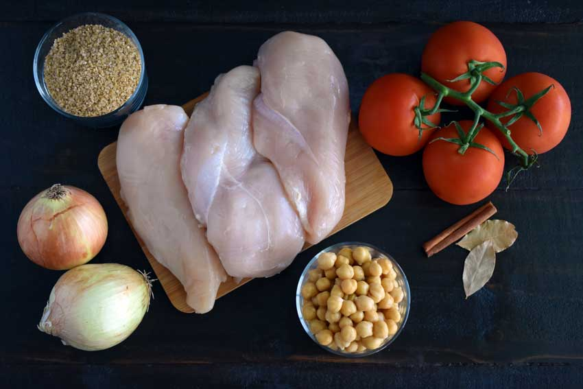 Lebanese Bulgur with Chicken, Tomatoes and Chickpeas Ingredients