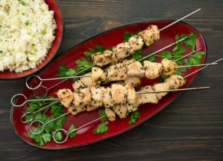 Pork Souvlaki with Lemon Rice