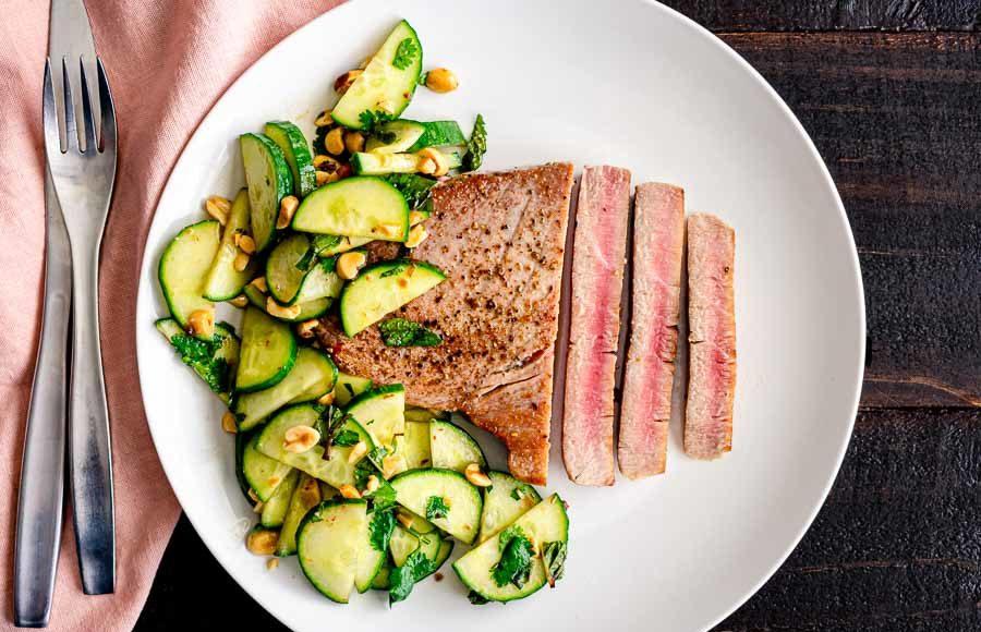 Tuna Steaks with Cucumber-Peanut Salad
