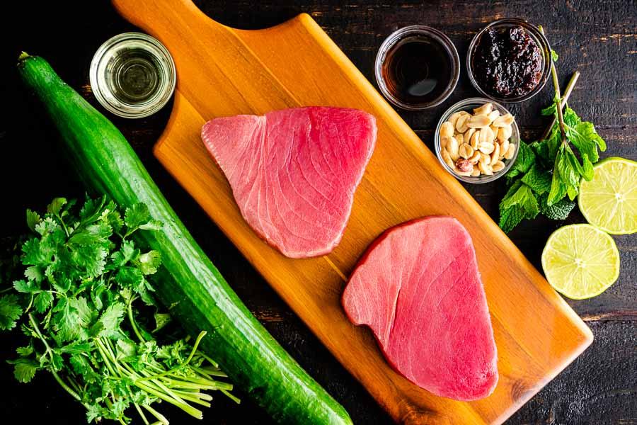 Tuna Steaks with Cucumber-Peanut Salad Ingredients