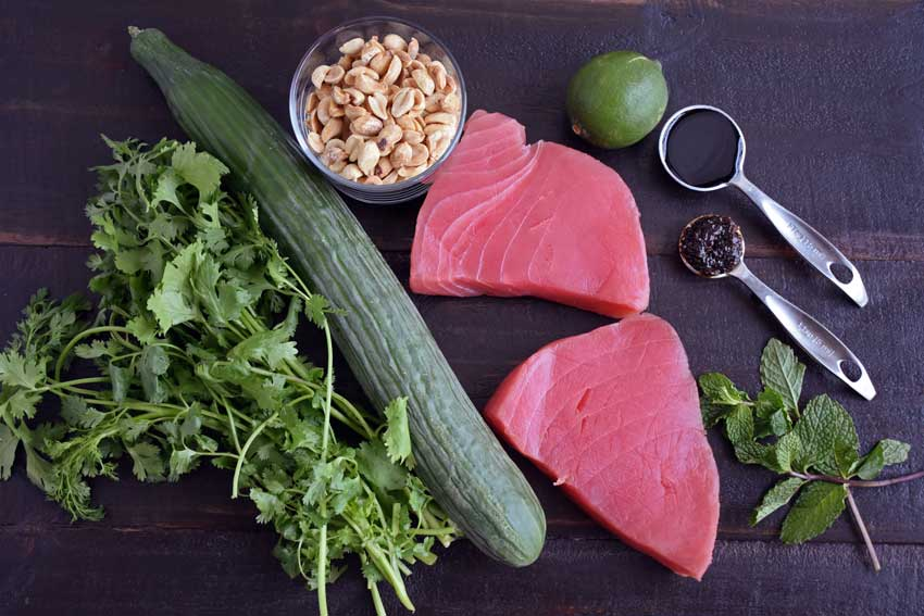 Tuna Steaks with Cucumber-Peanut Salad ingredients