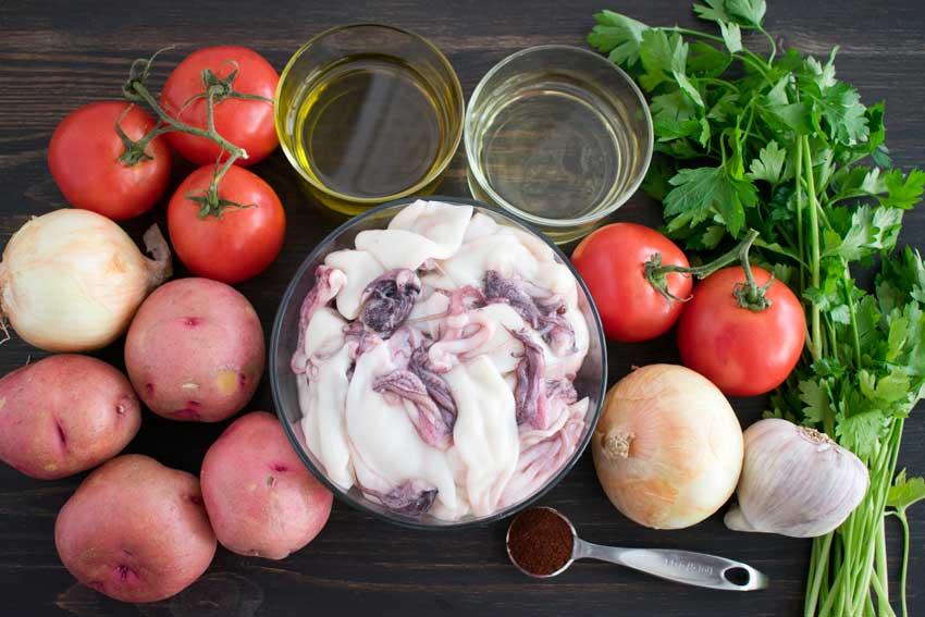 Portuguese Squid Stew (Caldeirada de Lulas) Ingredients