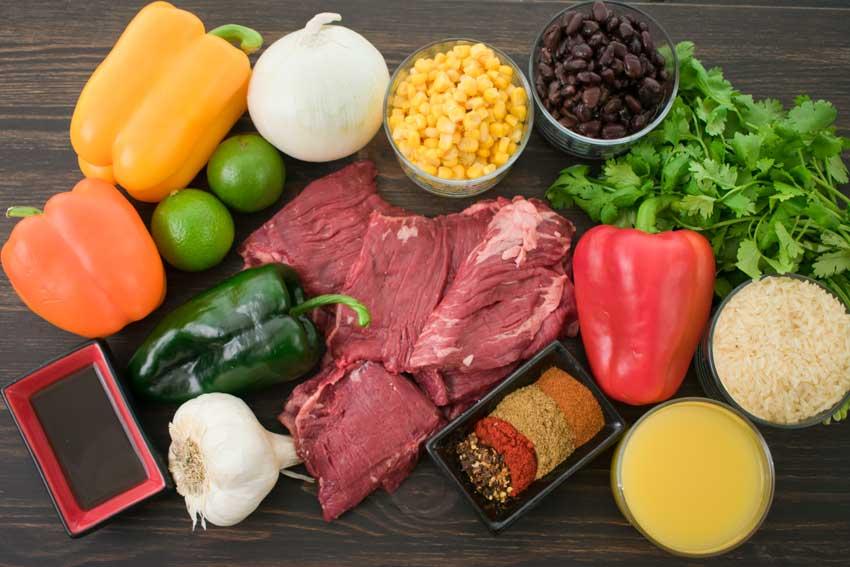 Steak Fajita Bowls with Garlic Lime Rice Ingredients