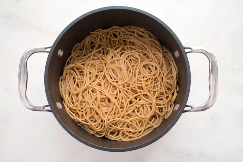 Cooked whole wheat spaghetti