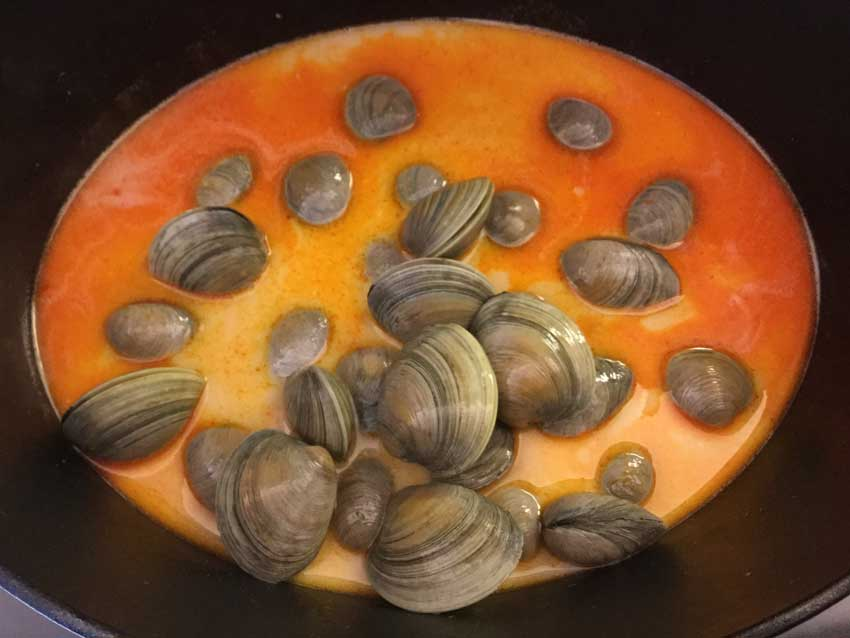 Just added the clams to the broth
