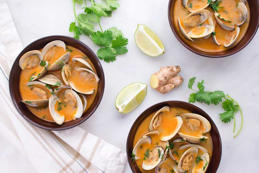 Red Curry, Coconut, and Ginger Infused Steamed Clams