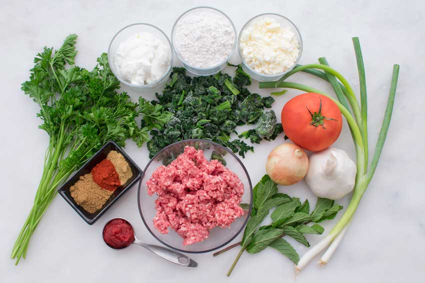 Turkish Gozleme with Minced Lamb Ingredients