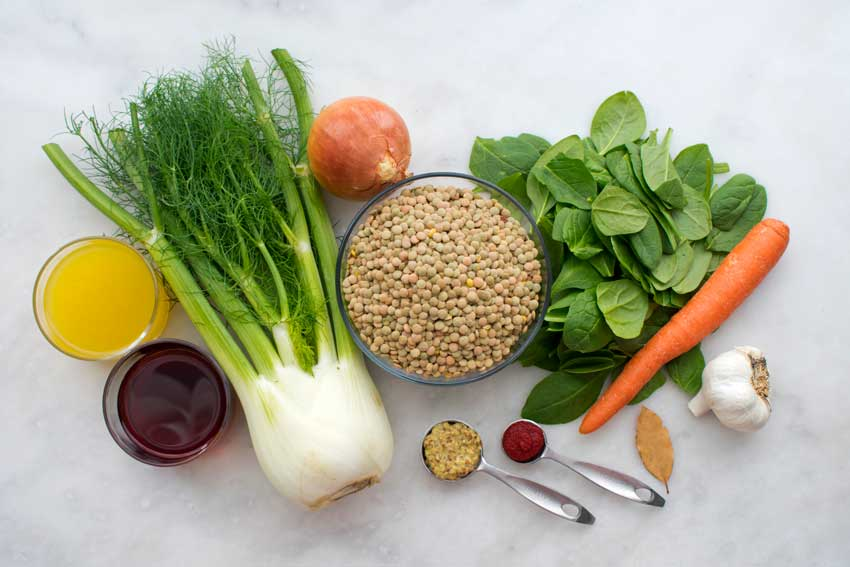 French Lentil and Spinach Soup Ingredients