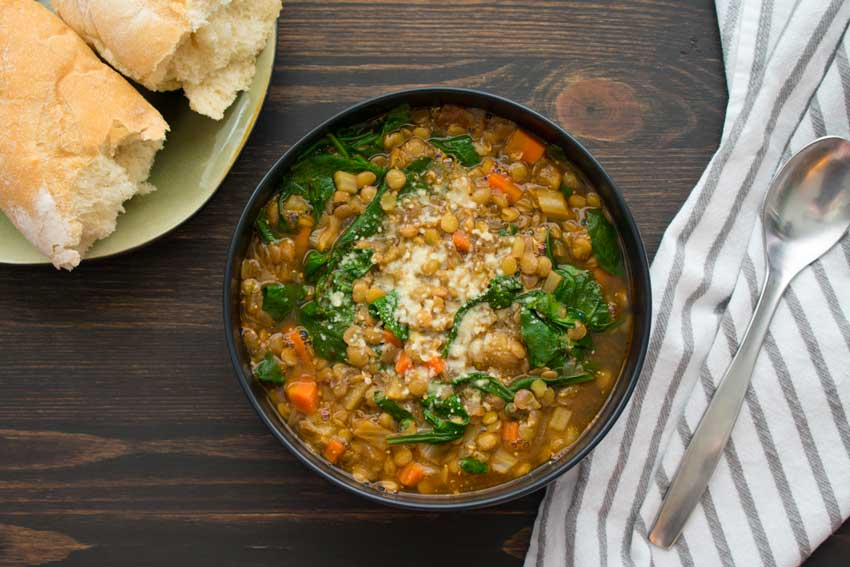 French Lentil and Spinach Soup