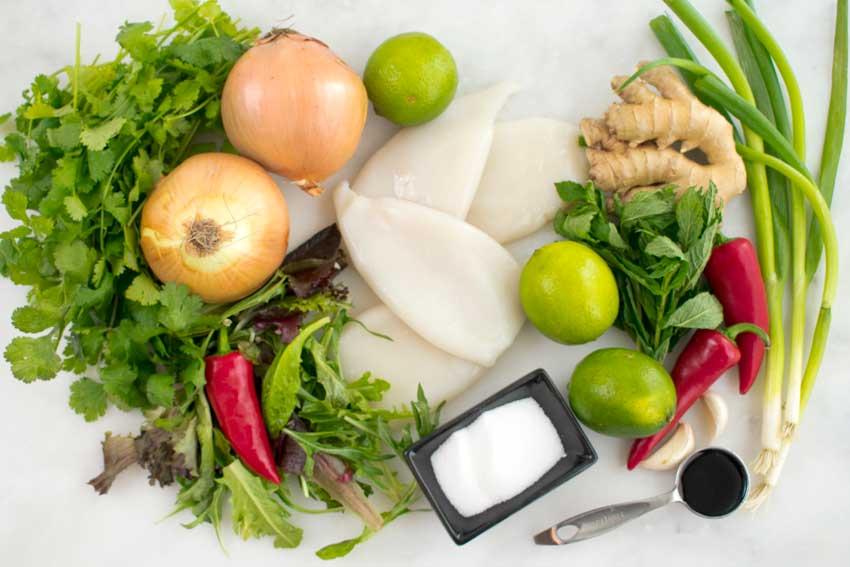 Vietnamese Spicy Squid Salad Ingredients
